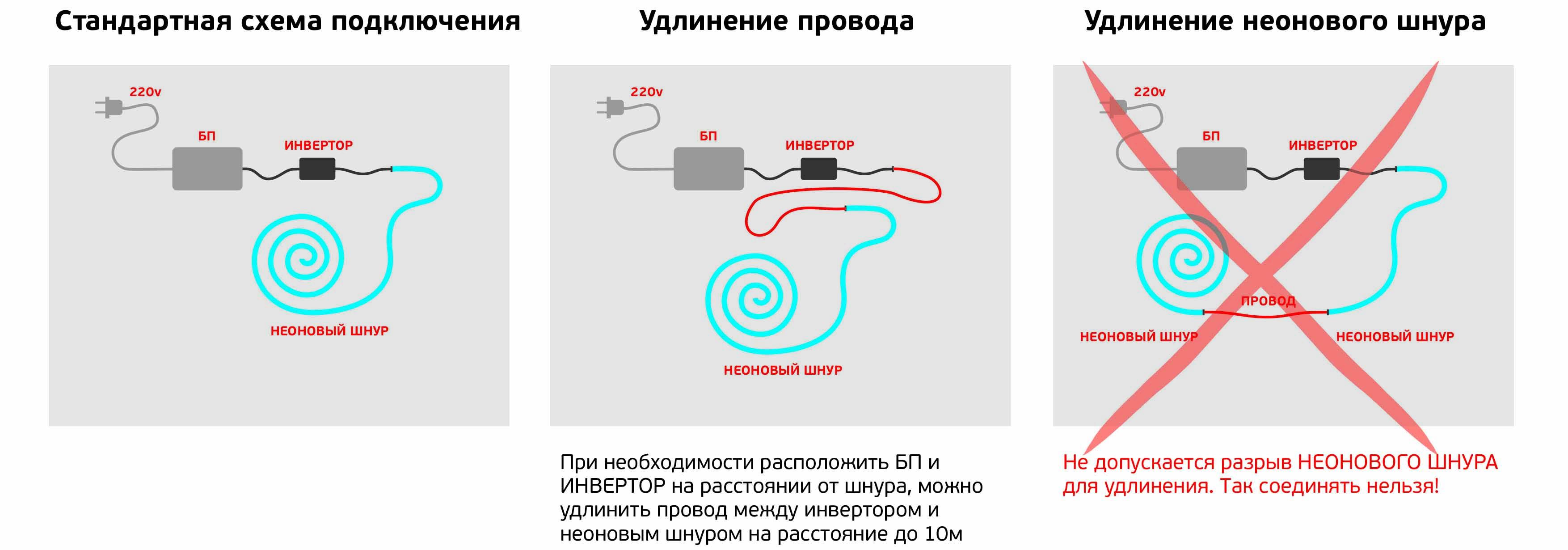 Схемы включения неоновой лампы